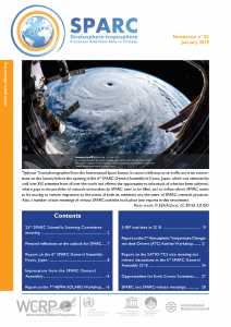 Front page of the SPARC newsletter No. 52, showing Taifun Trami from space.